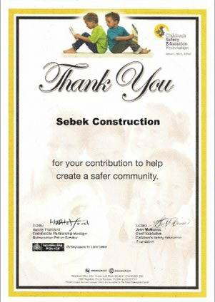 Sebek Construction Ltd Certificates